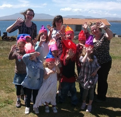 East Falkland Pupils after their Summer Christmas Party & Premiere