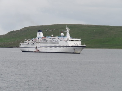 MV Berlin at anchor of Hamars Ness getting ready to land passengers